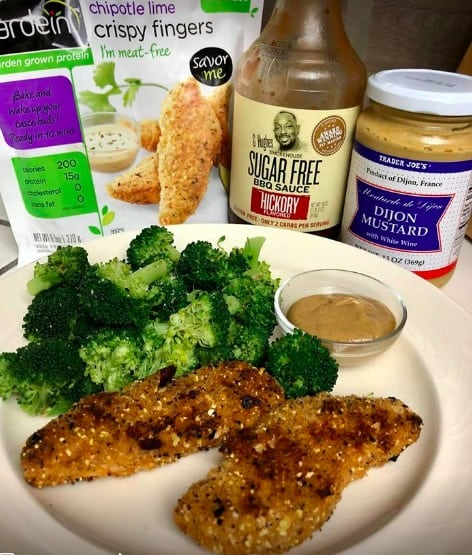 vegan chicken fingers broccoli, mustard bbq dipping sauce