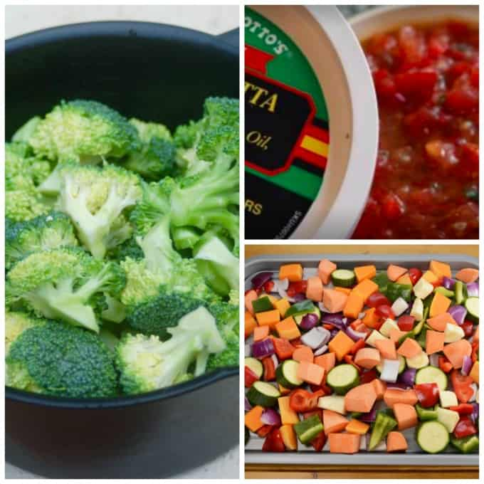 vegetable collage microwave steamed broccoli, bruschetta topping, tray of raw veggies