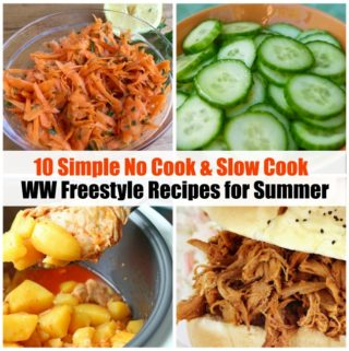 WW freestyle slow cook no cook recipes for summer 4 image collage with text
