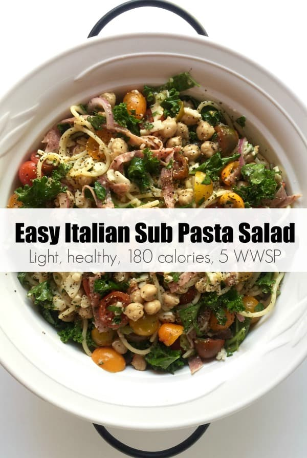 An easy, light & healthy mayo-free pasta salad with all the flavors of an Italian sub that can be modified in lots of ways to suit your tastes - about 180 calories and 5 Weight Watchers Freestyle SmartPoints! #simplenourishedliving #weightwatchers #ww #wwfamily #wwsisterhood #easyhealthyrecipes #pastasalad #smartpoints #wwfreestyle #wwsmartpoints #becauseitworks #beyondthescale