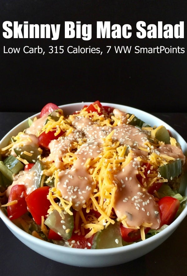 Skinny Big Mac Salad for One Light, healthy low carb with all the flavors of your favorite special sauce topped cheeseburger with 315 calories and 7 Weight Watchers Freestyle SmartPoints! #simplenourishedliving #weightwatchers #ww #wwfamily #wwsisterhood #easyhealthyrecipes #smartpoints #wwfreestyle #wwsmartpoints #becauseitworks #beyondthescale