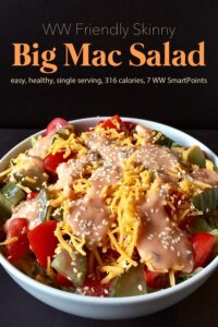 Skinny Big Mac salad for one in white bowl.