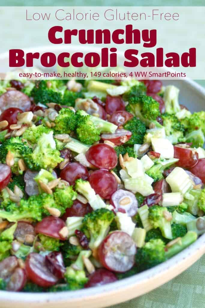 Crunchy broccoli salad with grapes and sunflower seeds in serving bowl