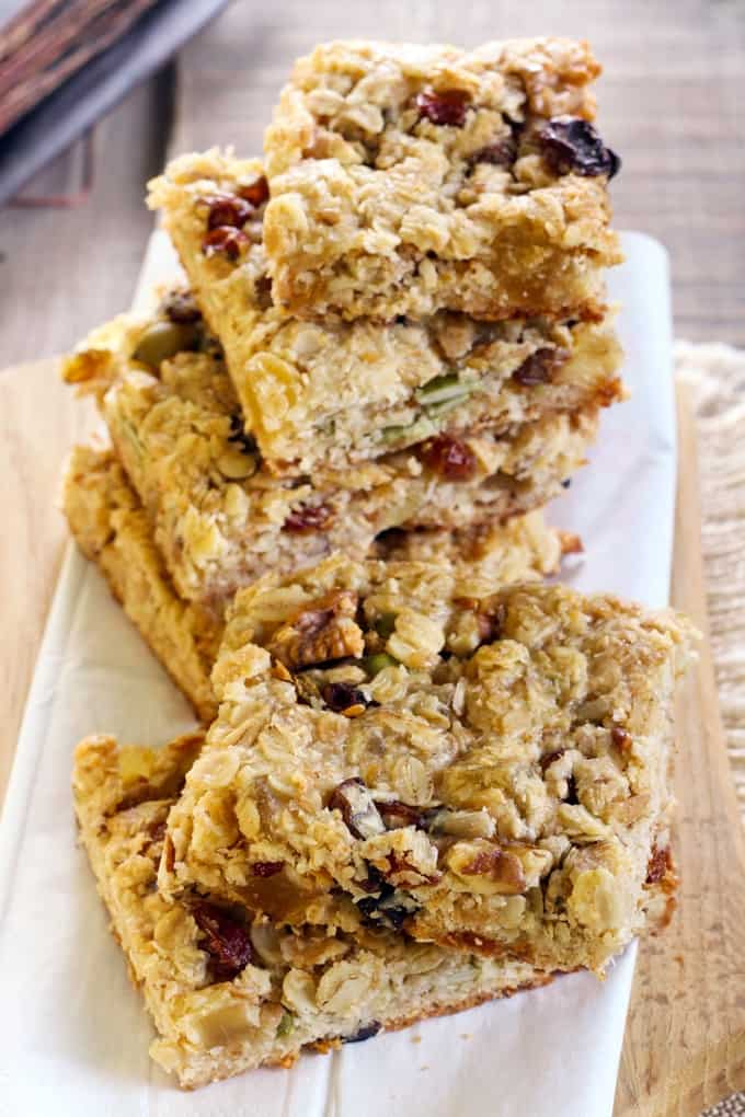 Stack of healthy energy bars