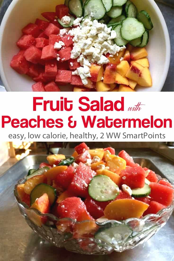 Chunks of juicy watermelon and fresh peaches, sliced cucumber and peaches tossed with vinegar or lemon juice and sprinkled with feta cheese - only 130 calories and 2 Weight Watchers Freestyle SmartPoints! #simplenourishedliving #weightwatchers #ww #wwfamily #wwsisterhood #easyhealthyrecipes #smartpoints #wwfreestyle #wwsmartpoints #smartpointsfam #wwcommunity #wwfooddiary #becauseitworks #beyondthescale