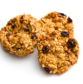 Three Oprah Oatmeal Apple Breakfast Cookies on White Background