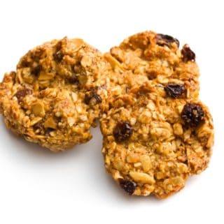 Three Oprah Oatmeal Apple Breakfast Cookies on White Background
