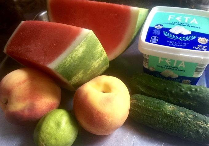 Fresh watermelon, peaches, lemon, cucumbers and Feta cheese.