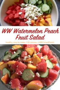 Fresh chopped watermelon, peaches, cucumber and Feta cheese untossed in a bowl near bowl with tossed fruit salad.