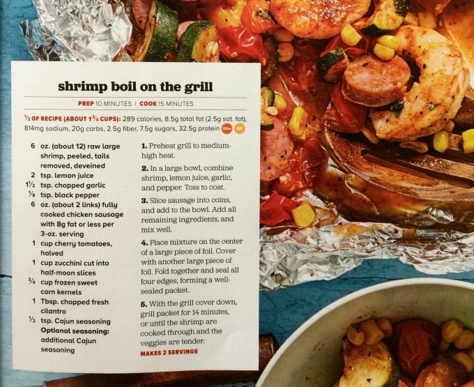 Skinny Shrimp Boil Foil Pack Grill Magazine Page with Recipe