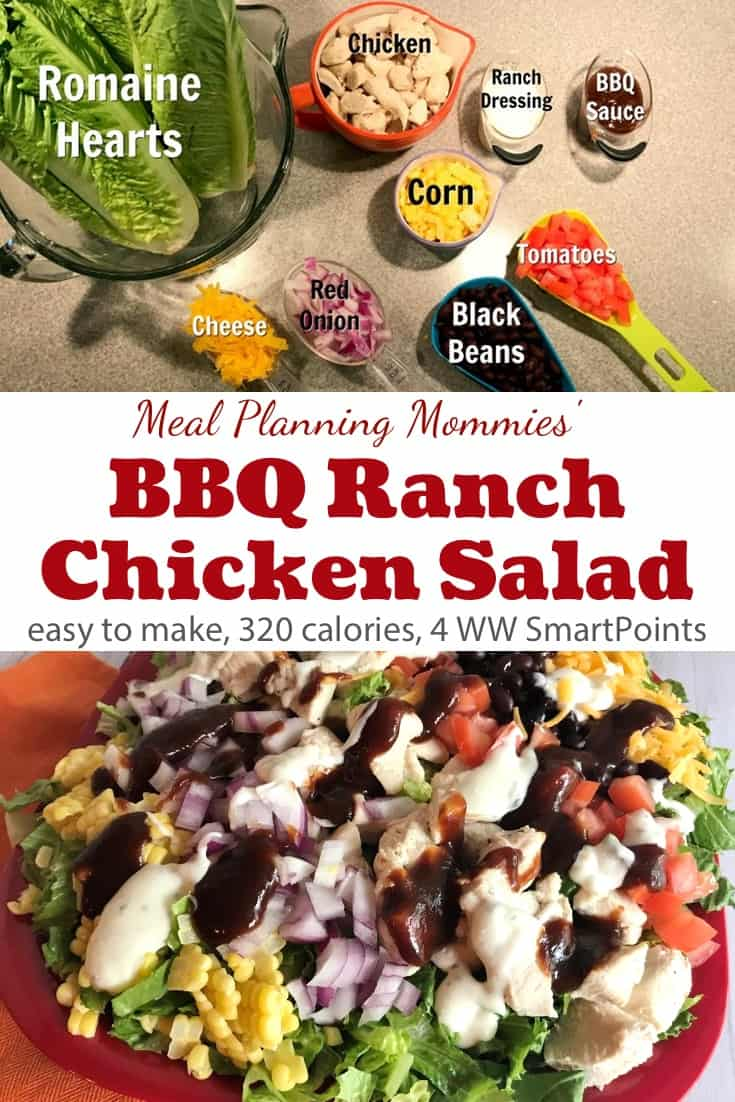 This BBQ Ranch Chicken Salad from Meal Planning Mommies is healthy and flavorful and comes together quickly - only 4 Weight Watchers Freestyle SmartPoints! #simplenourishedliving #weightwatchers #ww #wwfamily #wwsisterhood #wwsupport #wwcommunity #easyhealthyrecipes #smartpoints #wwfreestyle #wwsmartpoints #smartpointsfam #beyondthescale #becauseitworks