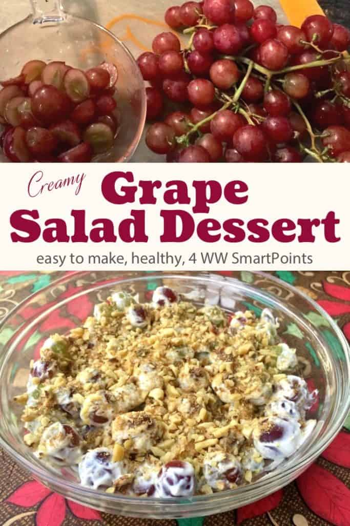 Creamy grape salad topped with chopped walnuts next to bunch of red grapes