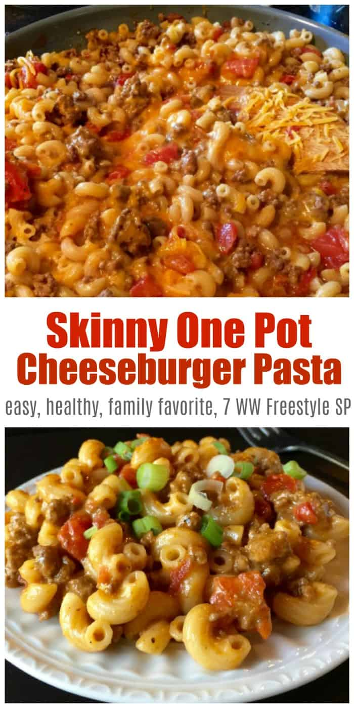 Skinny One-Pot Cheeseburger Pasta Skillet is a comfort food favorite made with lean ground beef, chicken broth, tomatoes, and macaroni & cheese - only 340 calories, 7 Weight Watchers Freestyle SmartPoints! #onepotcheeseburgerpasta #homemadehamburgerhelper #cheeseburgerpasta #onepotpasta
