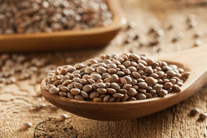 Uncooked brown lentils in a large wooden spoon