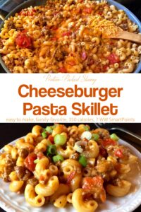 One-pot cheeseburger pasta in skillet next to dinner plate filled with cheeseburger pasta.