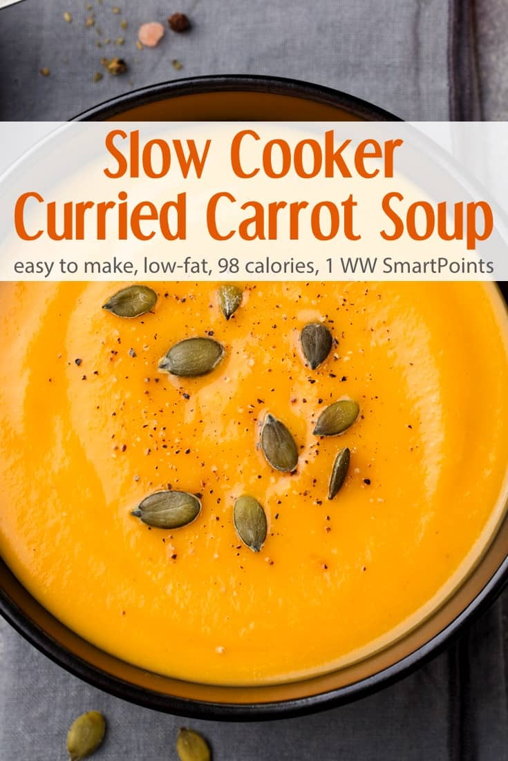 Gorgeously golden, this slow cooker curried carrot soup is as easy as it is delicious and can be easily adapted to suite different tastes! #slowcookercurriedcarrotsoup #carrotsoup