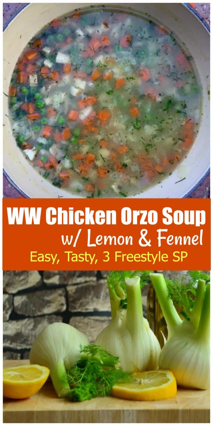 WW Freestyle Recipes: Easy, fresh and flavorful Chicken Orzo Soup with Lemon and Fennel - only 201 Calories and 3 WW Freestyle SmartPoints ready in 30 Minutes or Less! #chickenorzosoup #chickensoup #soup