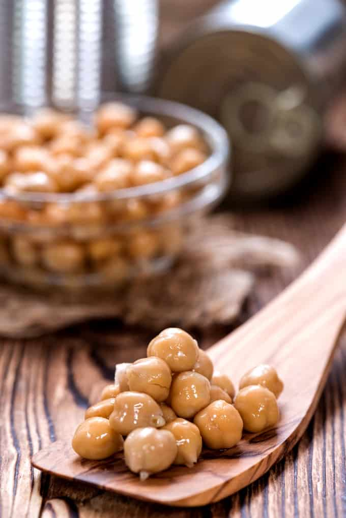 Canned Chickpeas close-up on a wooden spoon with a bowl of chickpeas in the background