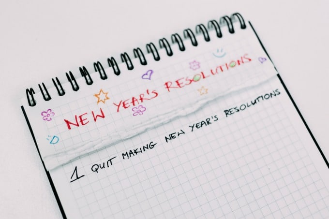 notebook with new years resolution title