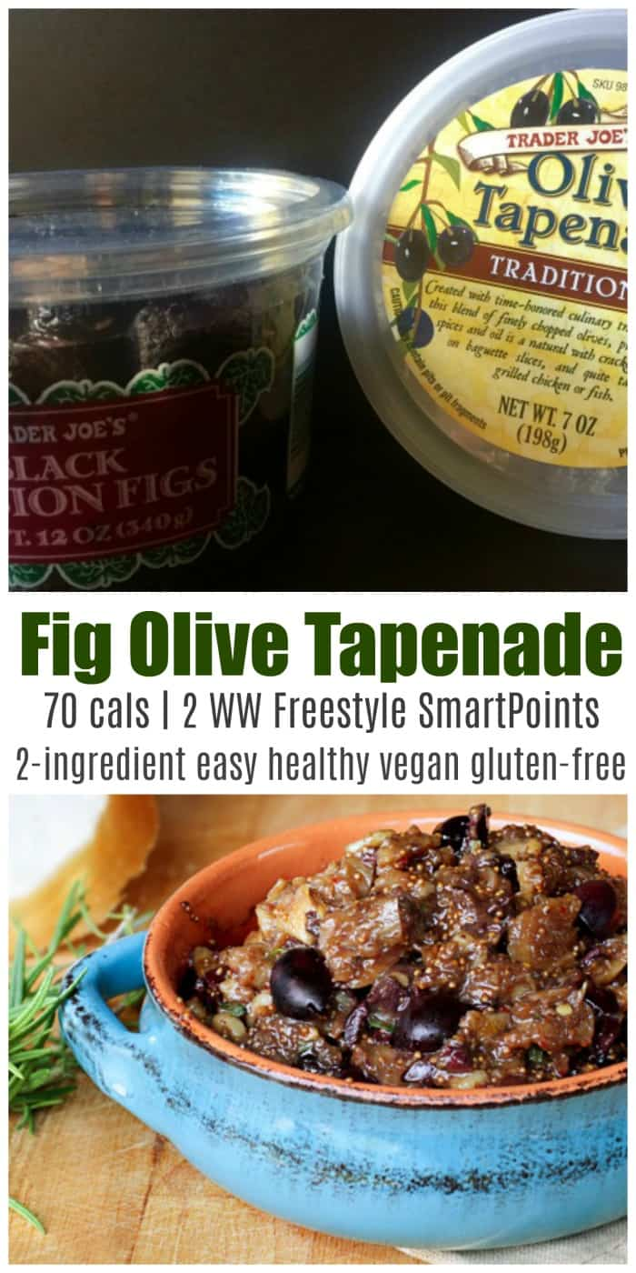 This Fig Olive Tapenade is super simple to make and using dried rather than fresh figs concentrates the dense flavor of the fruit! #figolivetapenade #figtapenade #olivetapenade #tapenade #appetizer #easyhealthyrecipe