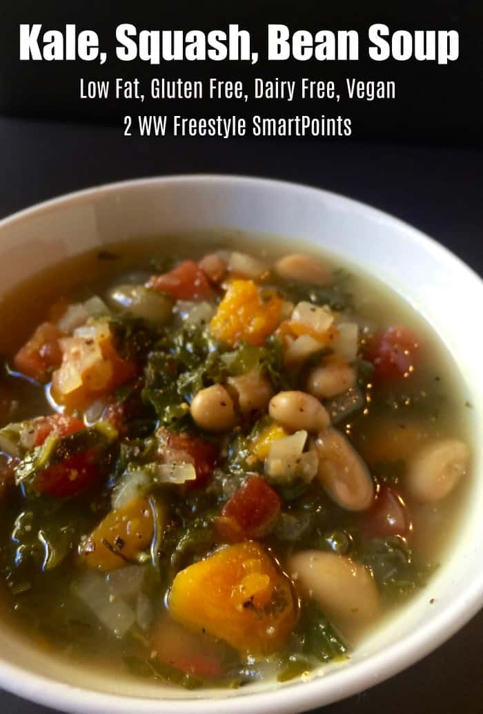 WW Freestyle Recipes: Easy, Healthy, Low Fat, Gluten Free, Dairy Free, Vegan, Kale Butternut Squash, White Bean Soup, 2 SmartPoints, Low Calorie, One Pot One Bowl Meal