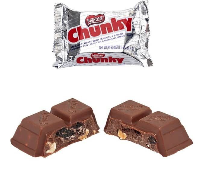 Nestle Chunky Candy Bar Broken in Half