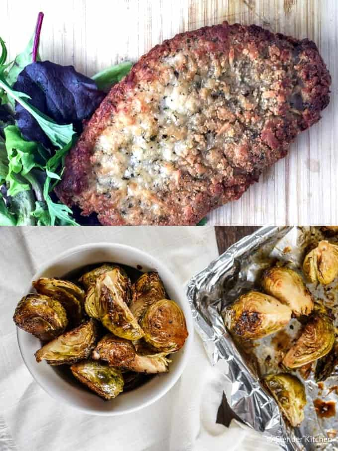 Parmesan Crusted Pork Chops on a wooden cutting board with Crispy Balsamic Brussels Sprouts in a white bowl