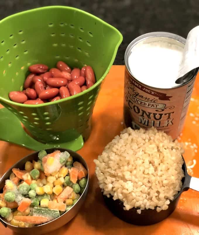 Ingredients for making leftover Caribbean Coconut Jerk Turkey Soup including pinto beans, reduced fat coconut milk, frozen mixed vegetables and brown rice