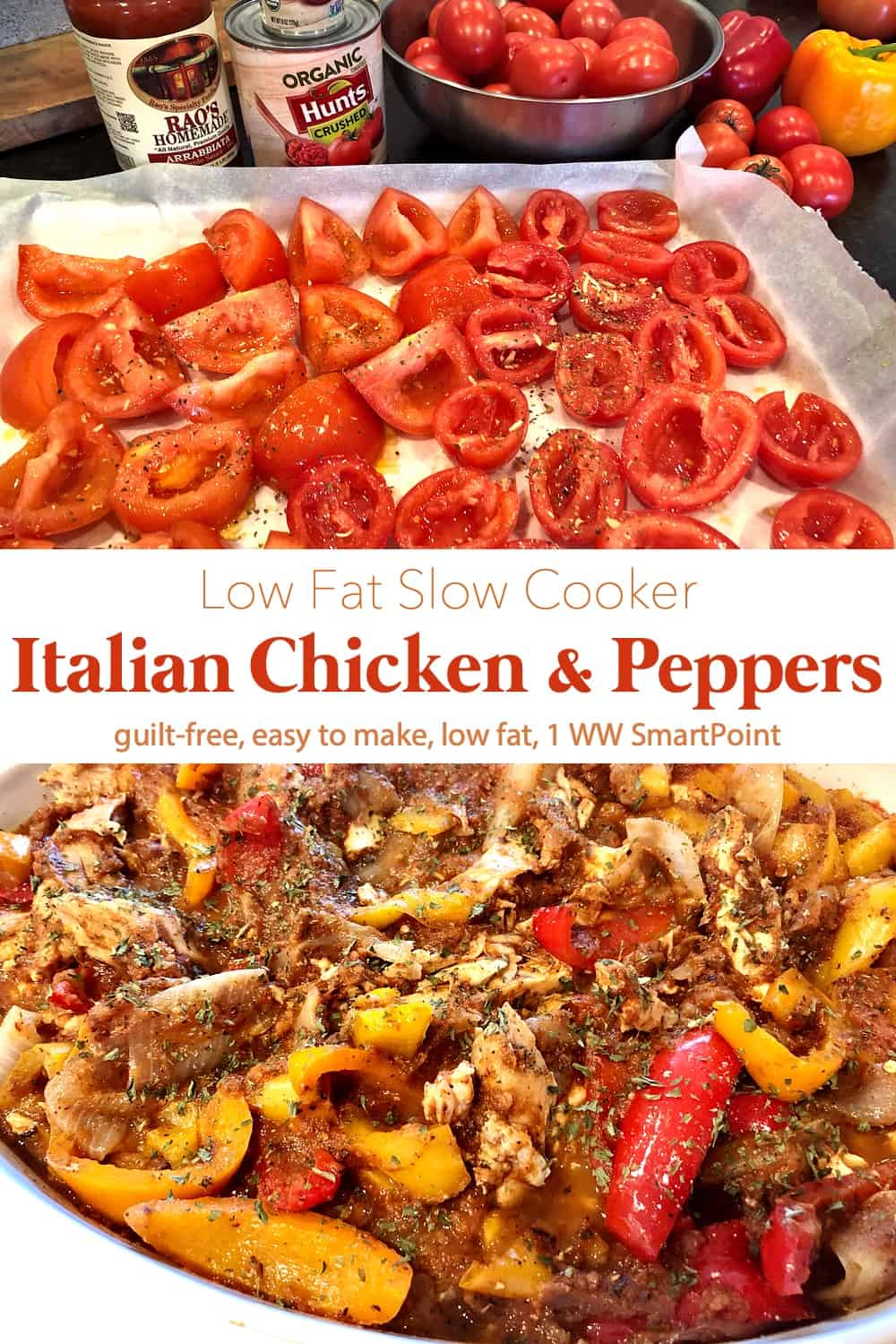 This easy low fat recipe for Slow Cooker Chicken & Peppers is a simple way to create a Low Point Weight Watchers family-friendly meal. #lowfatslowcookerchickenpeppers #lowfatchickenpeppers #slowcookerchickenpeppers #chickenpeppers #chicken #easyhealthyrecipes #slowcooker #crockpot