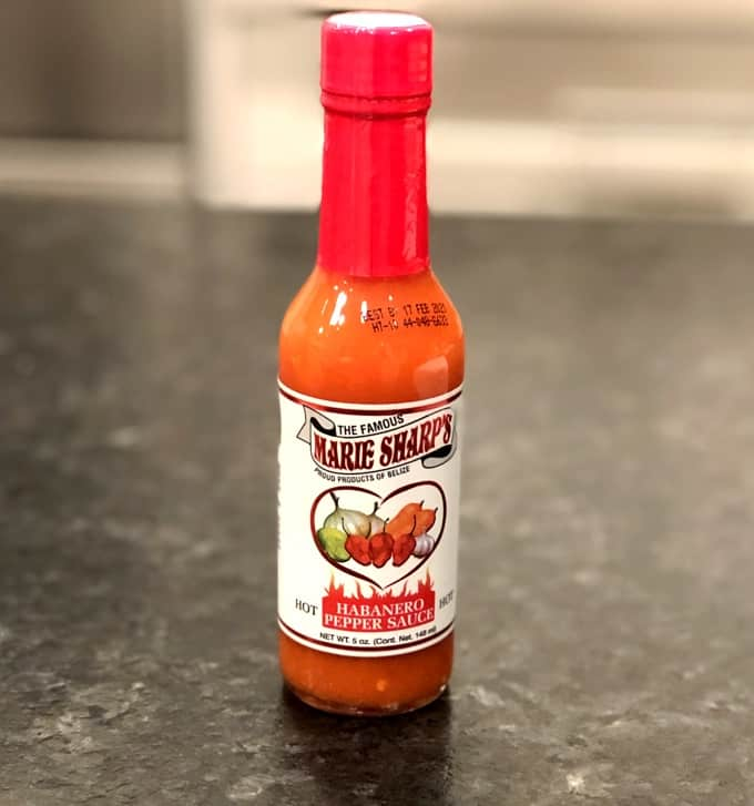 A bottle of Marie Sharp's Hot Habanero Pepper Sauce