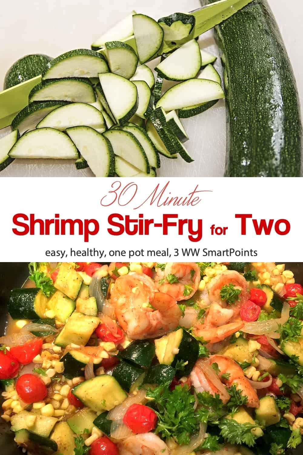 Gluten-free and easily made dairy-free, you'll love this simple, easy, Shrimp & Veggie Stir-Fry that shows Weight Watchin' and Pioneer Woman can be a winning combination! #shrimpstirfry #shrimp #stiryfry #easyhealthyrecipes