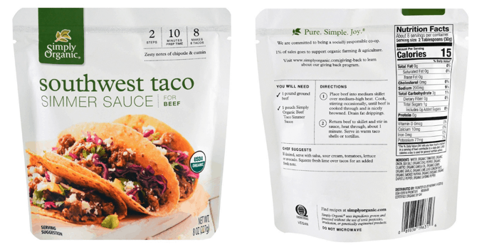 Simply Organic Southwest Taco Simmer Sauce Packet front and back