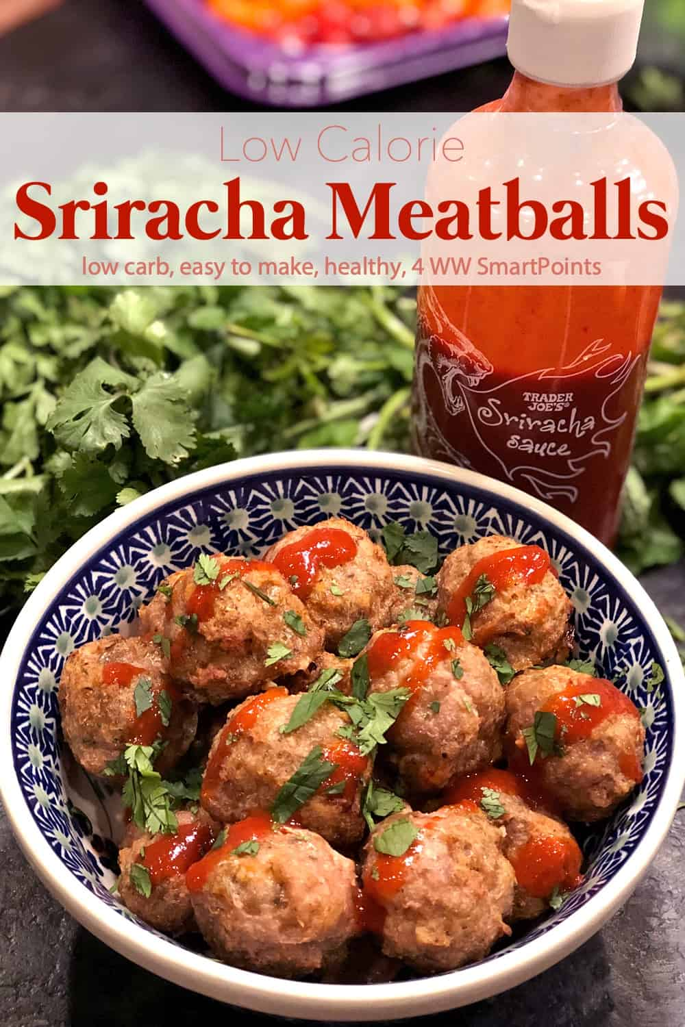 These low calorie Sriracha meatballs are high in flavor and make a delicious high-protein low-carb appetizer or snack! #srirachaturkeymeatballs #srirachameatballs #turkeymeatballs #meatballs #sriracha