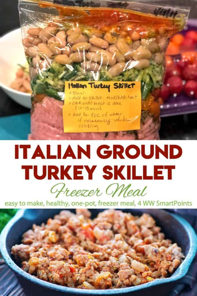 Italian Ground Turkey Skillet Freezer Meal Bag with cooked meal in skillet