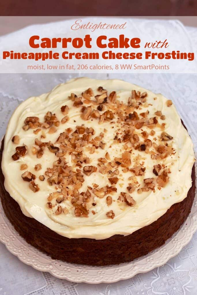 Carrot Cake with Pineapple Cream Cheese Frosting and Chopped Walnuts