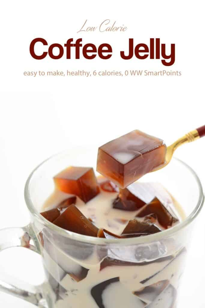 Coffee Jelly (Jello) in a glass with milk