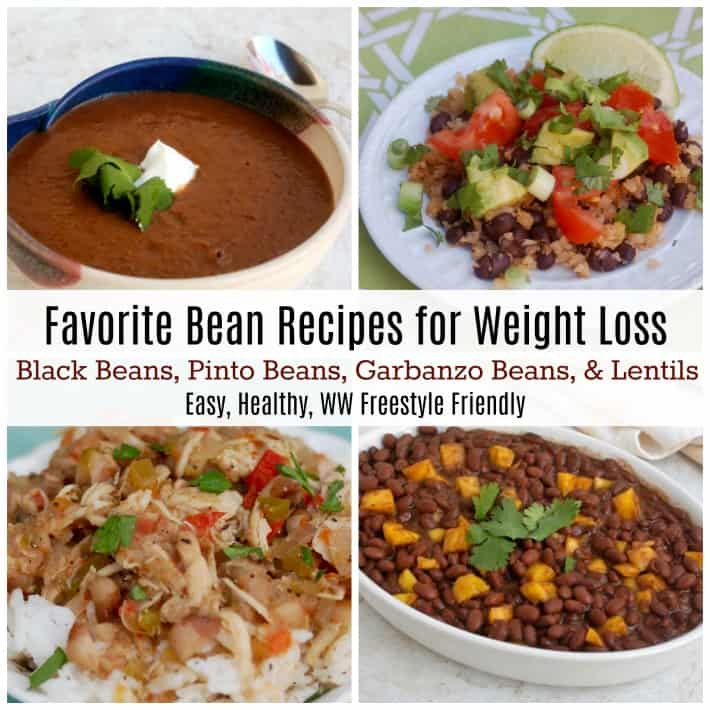Photo collage of recipes with beans including: black bean soup, cauliflower rice and beans, Creole white beans with chicken and Caribbean black beans with mango.