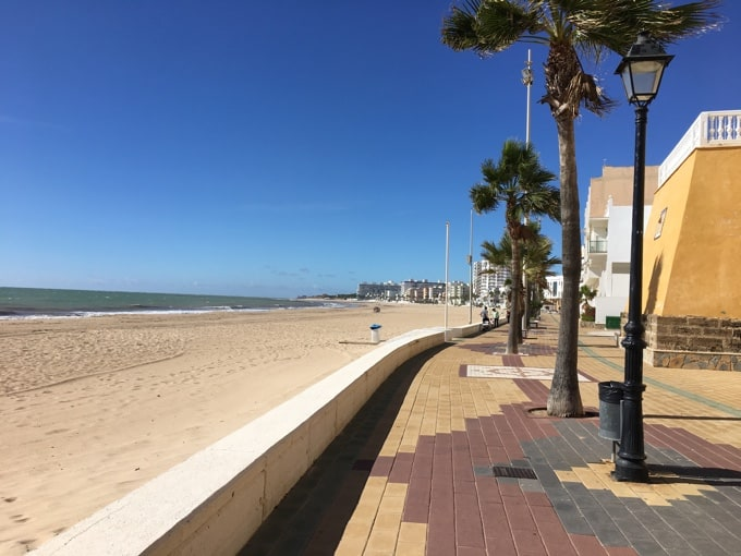 Beach and blue skies in Rota Spain.