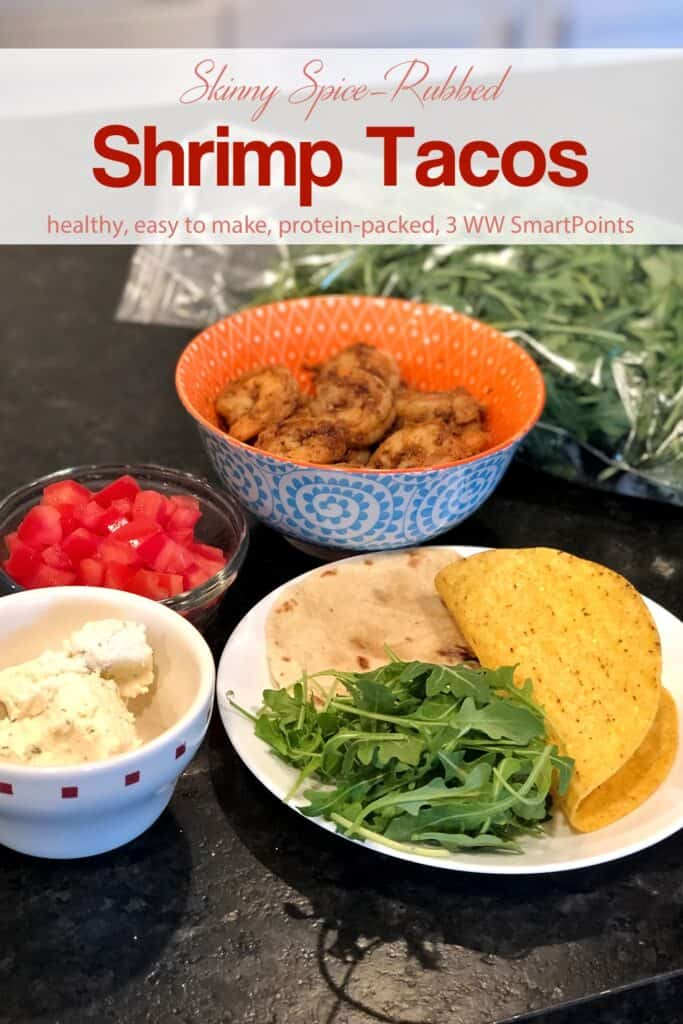 Spiced-rubbed shrimp, diced tomatoes, cheese, arugula and tacos shells for making soft shrimp tacos