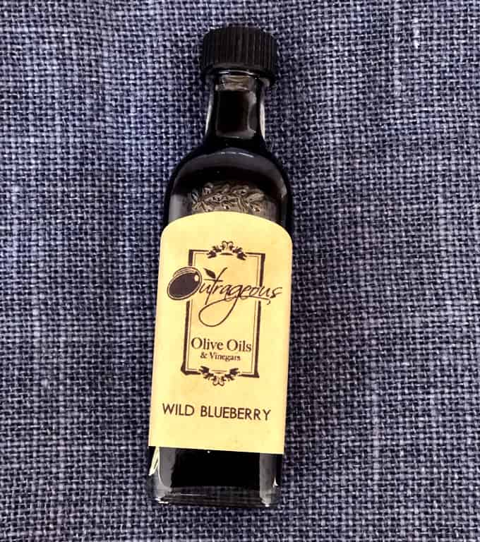 Bottle of wild blueberry vinegar from Outrageous Olive Oils and Vinegars