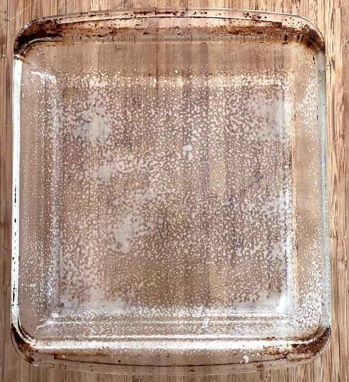 9-inch square glass baking dish coated with nonstick spray.