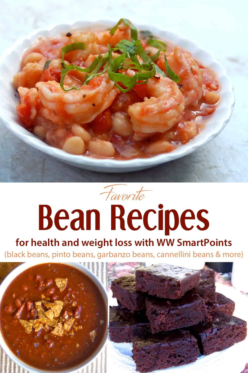 Food collage: shrimp with white beans in white bowl, plate filled with black bean brownies, and bowl of baked beans soup.