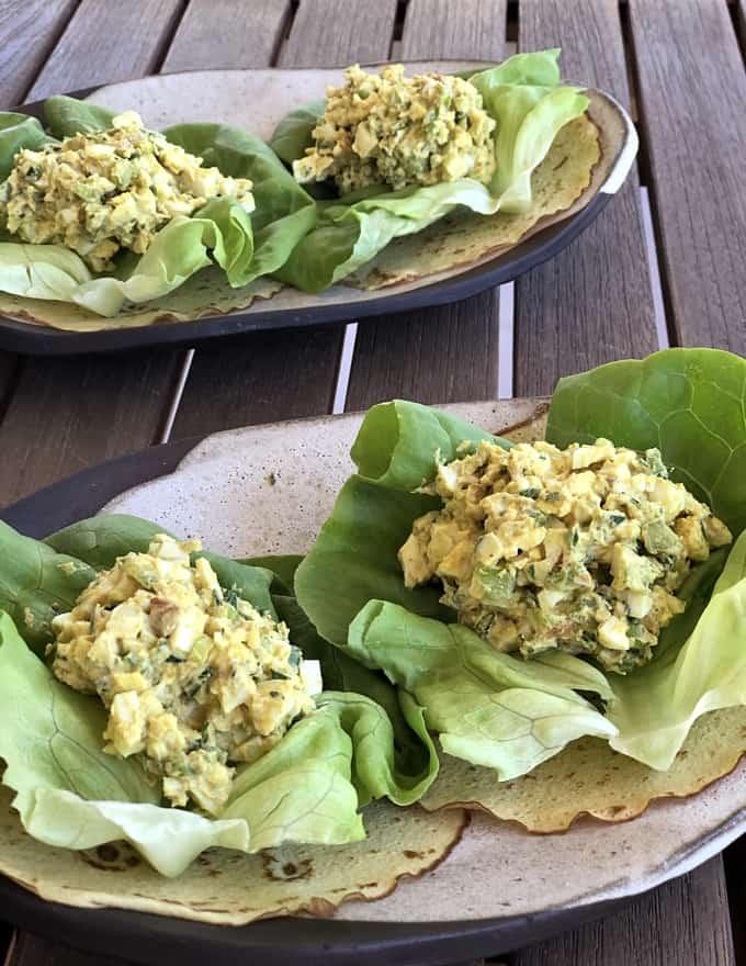 Curried egg salad lettuce wraps.