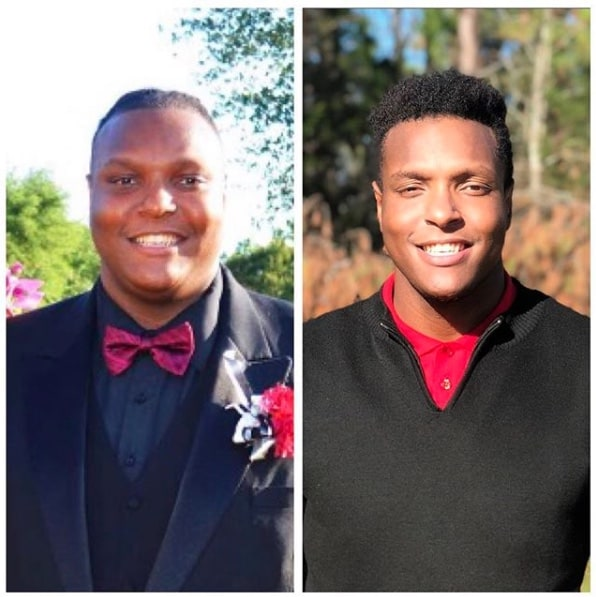 Keyshawn G. headshot before and after weight loss journey