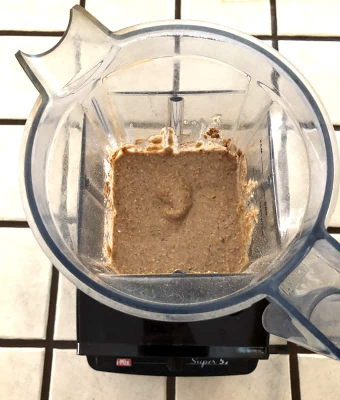 Blending peach breakfast cookie batter in Vita-mix blender