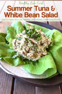 Tuna and White Bean Salad with Basil Pesto on butter lettuce.