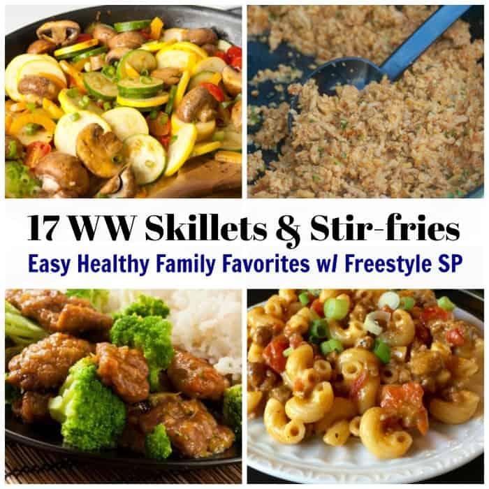 Collage showing beef and broccoli, hamburger macaroni skillet, fried cauliflower rice and zucchini, tomato, mushroom skillet.