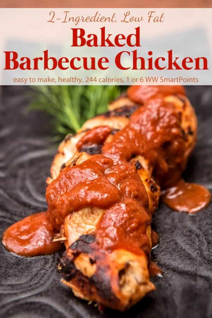 Baked BBQ Chicken smothered with extra barbecue sauce on decorative black plate.