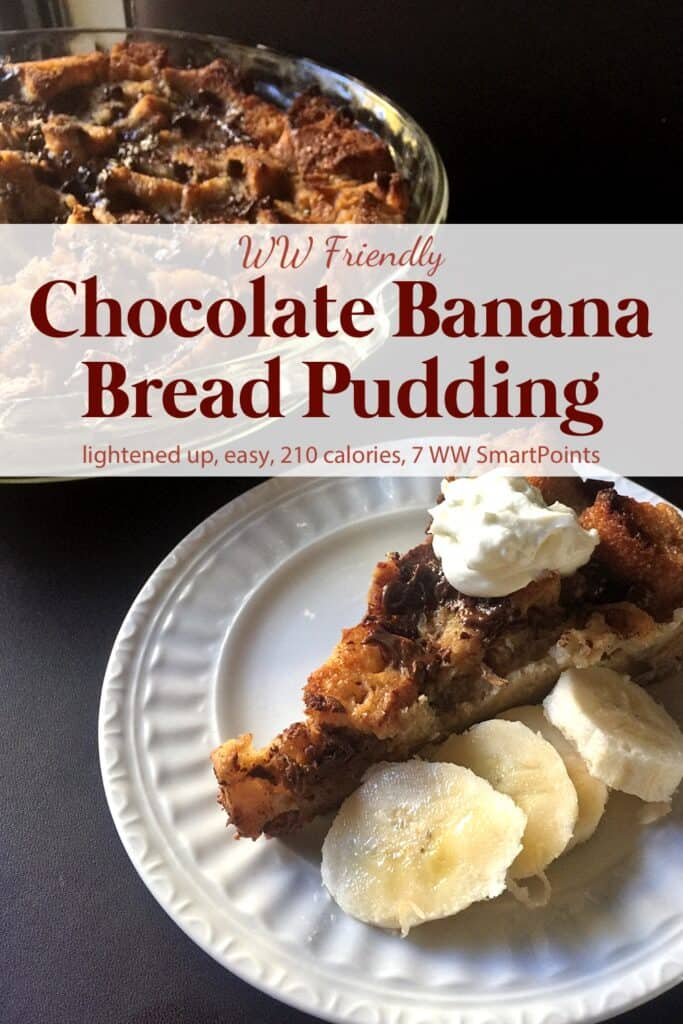 Chocolate Banana Bread Pudding near slice of bread pudding on small plate with fresh banana slices.