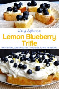 Pieces of lemon blueberry trifle near whole trifle on serving plate.